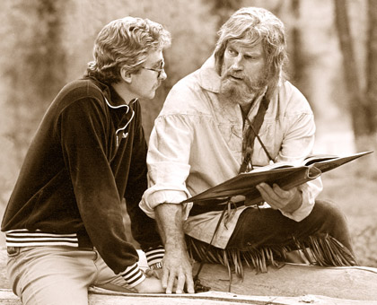 Fraser and Charlton discussing a scene from Mountain Men.